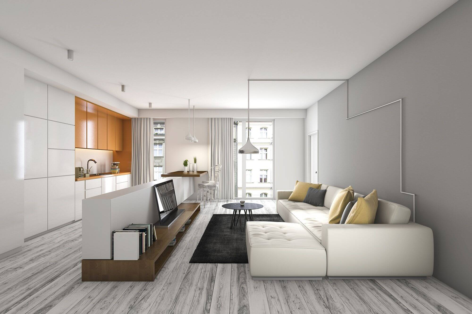 3d rendering living room with sofa and tv near kitchen bar